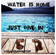 Water is Home. Just Dive In. #Swimming #Quotes---for Alexer!