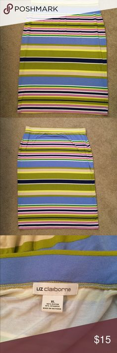 Women's XL colorful striped Liz Claiborne skirt!! This skirt is so fun! Women's XL striped Liz Claiborne skirt. Goes right below the knee. The skirt is fitted and gets more narrow at the bottom, however the material is stretchy. The stripes consist of yellow, white, two shades of blue, two shades of green, pink/lavender, and tan. Smoke free/Pet free home! Liz Claiborne Skirts Pencil