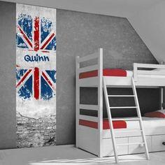 Muursticker van de Engelse vlag. Stoer idee voor de kinderkamer / tienerkamer. Met gratis naam vermelding op de sticker.