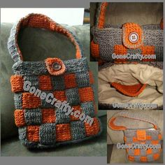 Crochet Purse! Basketweave, border, closure, lined...