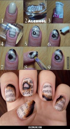 Burnt Newspaper Nails#funny #lol #lolzonline
