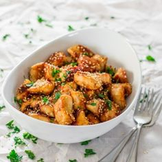 Sesame Garlic Chicken - tender and delicious chicken, with loads of garlic, sesame oil, soy sauce and honey.