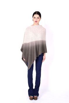 Our extremely popular cashmere dip dyes poncho is back in stock! These beautiful pieces are hand dyed. Each piece possesses slight variations as to attest to the care and attention required in their individual CashmereMade in . Cashmere Poncho, Dip Dye, Dyes, Bell Sleeve Top, Beige, Popular, Brown, Classic, Beautiful