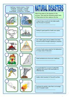 Natural Disasters Matching Exercises worksheet - Free ESL printable worksheets m. - Science and Nature Social Studies Worksheets, Vocabulary Worksheets, Printable Worksheets, English Vocabulary, Science Worksheets, English Lessons, Learn English, Natural Disasters For Kids, Vocabulary Exercises