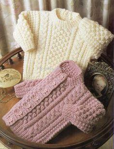 Baby Knitting Patterns Baby Knitting Pattern Baby Aran Sweater Baby Aran Cardigan C… Baby Knitting Patterns, Baby Sweater Patterns, Baby Boy Knitting, Baby Cardigan Knitting Pattern, Knit Baby Sweaters, Knitting For Kids, Baby Patterns, Free Knitting, Vintage Patterns