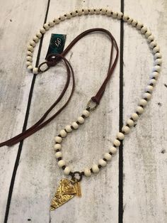 Lula N Lee Ivory Beaded Leather Necklace