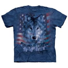 Patriotic Wolfpack Classic Adult Cotton Tee 4X Blue