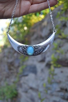 Boho jewelry: Silver Crescent Moon necklace with turquoise / baby blue opal glass by Valkyrie´s Song