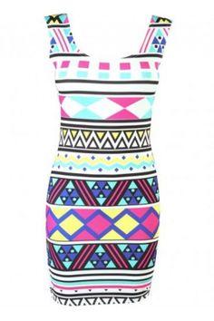 Multi Color Bright Aztec Print Sleeveless Mini Dress