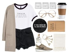 """Coffee Shop"" by lilyyy24 ❤ liked on Polyvore featuring H&M, N.Peal, NIKE and Surya"