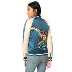 Pam & Gela Embroidered Bomber Jacket ($295) ❤ liked on Polyvore featuring outerwear, jackets, striped jacket, blue jackets, blue striped jacket, blue bomber jacket and embroidered bomber jackets