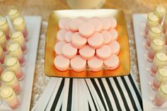 Pink ombre dessert table with gold accents