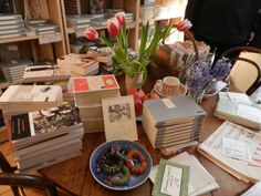 Persephone Books. Every book store should have such a warm inviting display!
