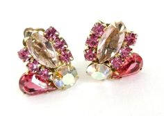 Vintage Estate Juliana D&E Pink Rhinestone Night Out Earrings on Gold Tone Metal Clip-on Backs. The earrings are in three shades of Pink