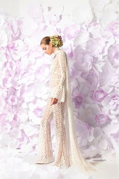 """""""Maya"""" cotton lace daisy jumpsuit with trailing scarf in place of a veil, by Lesley de Freitas Atelier"""