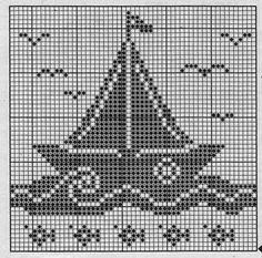 Filet Crochet, Crochet Cross, Crochet Motif, Kids Knitting Patterns, Knitting Charts, Knitting Stitches, Crochet Patterns, Crochet Boat, Nautical Crochet