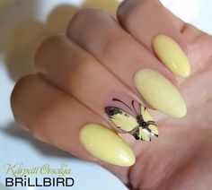 Brill Bird Source by Bird Nail Art, Butterfly Nail Art, Pastel Nails, Yellow Nails, Spring Nails, Summer Nails, Cute Nails, Pretty Nails, Gel Nail Art Designs