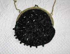 Black Beaded Evening Purse by vintagous on Etsy