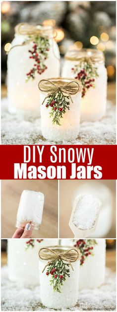Mason Jars DIY Snowy Mason Jars -how to make faux snow covered mason jar luminaries for your holiday mantle and porch.DIY Snowy Mason Jars -how to make faux snow covered mason jar luminaries for your holiday mantle and porch. Christmas Jars, Rustic Christmas, Winter Christmas, Christmas Movies, Diy Christmas Wedding, Christmas Music, Diy Christmas Mason Jar Gifts, Chritmas Diy, Christmas Potluck