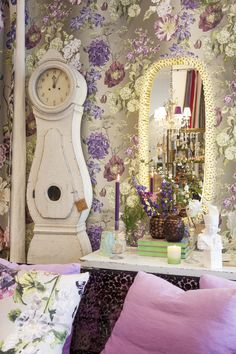 Designers Guild AW13 collection in the Kings Road Store, London including the Alexandria Amethyst wallpaper