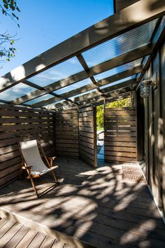 Porch corrugated panels Design Ideas, Pictures, Remodel and Decor...maybe do that with wood from pallets...