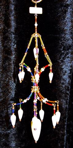 Rainbow beaded Chandelier Ornament with Pearls.
