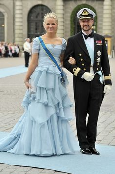 Mette Marit and Haakon arriving for the wedding of Swedish Crown Princess Victoria & Daniel Westling