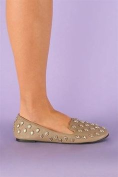 #Skull Face Leather Flats - Taupe