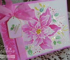 #Cre8time for pink watercolor poinsettia. #Stampendous #Christmas