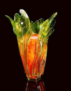 Dale Chihuly,  Spotted Orange Piccolo Venetian with Reduced Green Leaves  (1995, glass, 10 x 7 x 5 inches)