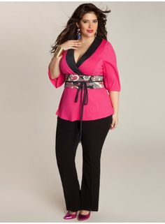 """IGIGI Plus Size Clothing by Yuliya Raquel """"Ishiko"""" Top in Raspberry Rose Pink, $68 via IGIGI.Com --- A deep contrast V-neck with a waist cinching, reversible obi-belt sash add a Japanesqué feel to this vibrant kimono-style top. Pair with tailored pants or pencil skirt with colorful pumps for an eye-catching work or social look."""