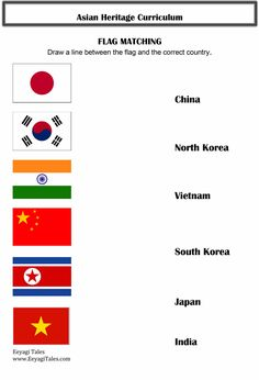 Asian  Flag Matching Worksheet Email eeyagitales@gmail.com for Asian Heritage lesson plan