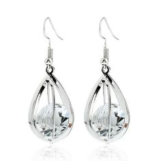 Silver Gold Crystal Drop Earring