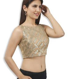 Buy golden with silver net embroidery  padded readymade sleeveless blouse sleeveless-blouse online