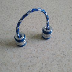 Silver Metallic Begleri / Worry Beads with Blue by TGPBegleri