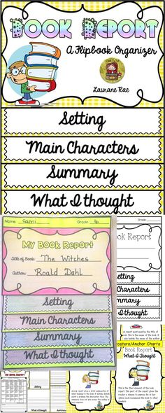 Use this flipbook organizer to scaffold the structure of a Book Report. The prompts for each of the key elements of a Book Report will help students write effectively and be on track.  $