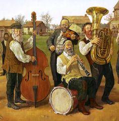 KLEZMER BAND - klarinet en viool spelen de solo-partijen bij deze Joodse folklore-muziek