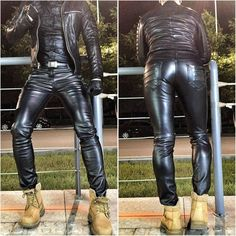 All about shiny, sexy black leather and rubber Mens Leather Pants, Tight Leather Pants, Fashion Moda, Mens Fashion, Latex Men, Leather Fashion, Sexy Men, Black Leather, Hipster