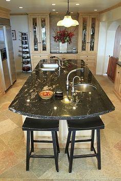 Finally decided on the countertop. Dark Granite Countertops, Granite Kitchen, Kitchen Backsplash, Kitchen Island, Kitchen Inspiration, Kitchen Ideas, Titanium Granite, River Lodge, White Subway Tiles
