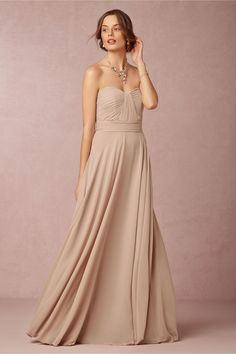 nude neutral bridesmaids dress | Quinn Dress in umber from @BHLDN