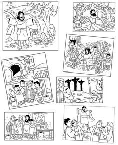 Easter story coloring pages. Also good for sequence game. Decrease size, make to copies and make a matching game. Additional background Bible scenery. http://www.mylittlehouse.org/others.html