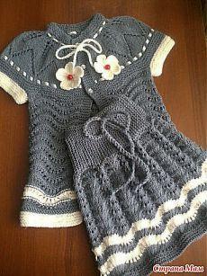 Комплект юбка и топ для девочки спицами..