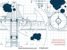 Blueprints. Mechanical engineering drawings. Cover. Banner. Technical Design. Draft. Ink. Blots #bubushonok #art #bubushonokart #design #vector #shutterstock #technical #engineering #drawing #blueprint  #technology #mechanism #draw #industry #construction #cad