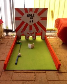 Carnival party hole in one putt putt homemade game