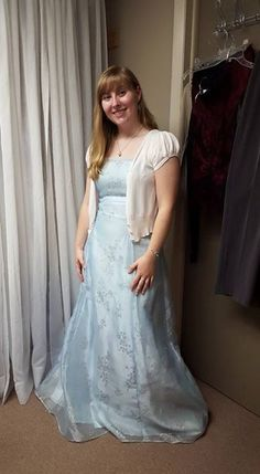 "Elizabeth: ""Thrift Store Outing: I wasn't looking for a prom dress, but I always try on pretty dresses at thrift stores, and this one reminded me a little of what Blanche's dress looked like in The Shadow of the Bear."""