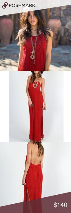 Jens pirate booty tequila maxi dress Beautiful , vibrant red gauze maxi dress ! So flattering :) shows off the back and has a slit in the side . Double layer gauze at the top will make sure that it isn't sheer . Adjustable halter neck ; will fit xs to medium. BRAND NEW never worn , tags removed Free People Dresses Maxi