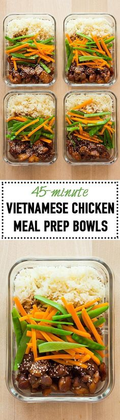 I'll say it time and time again. The secret to sticking to a healthy diet is meal planning. Today I've got Vietnamese Chicken Meal Prep Bowls for you to sweeten up your week :) Sweet sticky chicken, rice and veggies! Lunch Meal Prep, Meal Prep Bowls, Easy Meal Prep, Healthy Meal Prep, Healthy Cooking, Healthy Eating, Healthy Recipes, Lunch Recipes, Asian Recipes