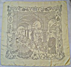 France VINTAGE AUTHENTIQUE HERMÈS PARIS « Des MAHARAJAS de SPLENDEUR »  FOULARD CARRÉ 34 conçu Catherine e9fa51d3188