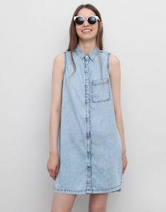 Pull&Bear - donna - vestiti - vestito scamiciato denim spacchetti laterali - azzurro chiaro - 09390309-I2015