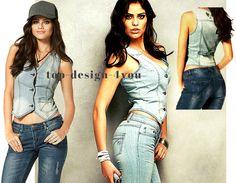 Arizona Jeansweste Lagen taillierte Weste JACKE Jeans Oberteil Gr.36,38,40 NEU